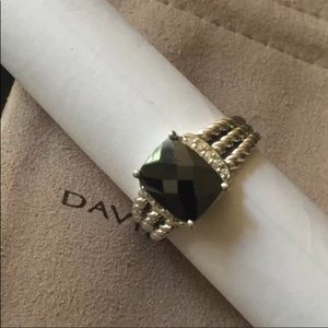 David Yurman 10x8mm Black Onyx Diamond Ring Sz 8